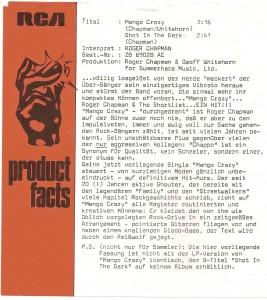 "Roger Chapman - Mango Crazy 7"" promo sleeve"